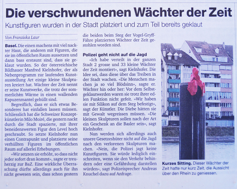 basler-zeitung-swiss-artbasel-public-arts-parcours-Vogel-Gryff-Faehre-guardians-if-time-sculpture-by-manfred-kielnhofer-waechter-gestohlen-wanted-stolen-5870y